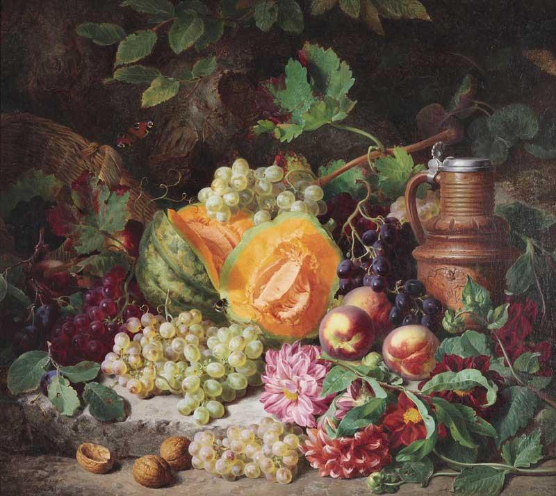 Josef Lauer - Martwa natura z dynią, owocami i dekoracyjnym glinianym dzbanem, olej, 73 x 81cm.